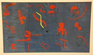 Abstrakte Komposition. Mischtechnik (Öl u. Tusche über Gouache) auf Papier auf Karton. ...