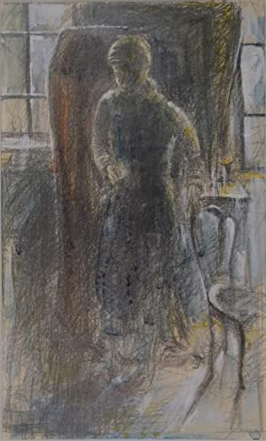 Junge in Interieur. Farbige Zeichnung in Bleistift, Aquarell, Deckweiss. 1937. Verso datiert: 37 – ...