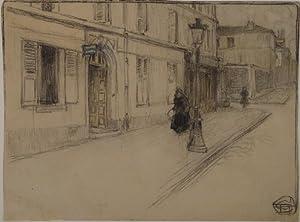 Strassenszene mit zwei weiblichen Figuren. Bleistiftzeichnung leicht koloriert. Um 1900. Unten ...