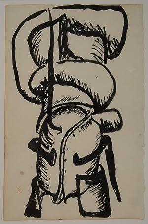 Sculpture / Skulpturstudie. Um 1956. Zeichnung in schwarzer Tusche. Unten links in roter Tinte...