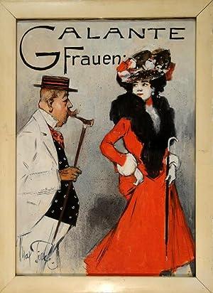"""Galante Frauen"""". Gouache. Um 1900. Unten links innerhalb der Darstellung in Pinsel signiert.: ..."""