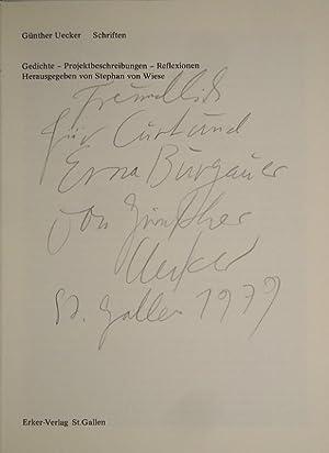 Schriften. Gedichte - Projektbeschreibungen - Reflexionen. Hrsg. von Stephan von Wiese.: UECKER, ...