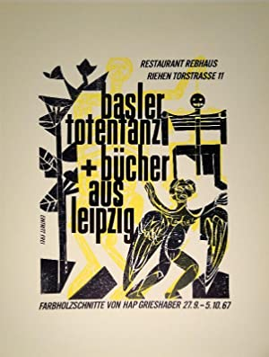 """Basler totentanz + bücher aus leipzig. Farbholzschnitte.1967. Restaurant Rebhaus, Riehen""""..."""