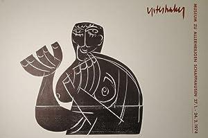 """Vogelfrei II. Holzschnitt in Schwarz mit Texteindruck als Plakat für die Ausstellung """"..."""