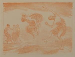Tanzende Mädchen (Springende Mädchen). Röthel-Lithographie. Um 1900.: HOFMANN, ...