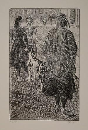 Strassenbild. (Frau mit Dogge). Radierung 1946. In der Platte u.l. signiert, r.u. in Bleistift ...