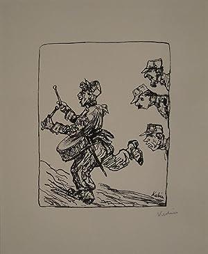 Der Trommler. Federlithographie. 1918. Unten rechts in Bleistift signiert.: KUBIN, ALFRED (...