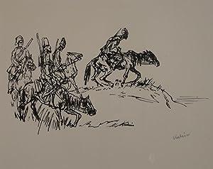 Kosaken. Federlithographie. 1918. Unten rechts in Bleistift signiert.: KUBIN, ALFRED (Leitmeritz ...