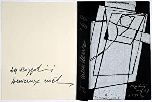 Zwei Neujahrs-Glückwunschkarten. Linoldrucke. 1955 / 1967. Jeweils: SILVANO BOZZOLINI (Fiesole