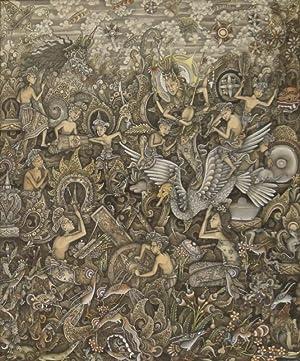 """Balinesische Miniaturmalerei. Unten rechts signiert: """"M.D.Bukel"""". Um 1970."""