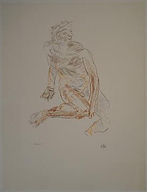 Flussgott. 1957. Farbige Lithographie in Ocker, Rötlichbraun, Braun, Olivgrün, Grau. ...