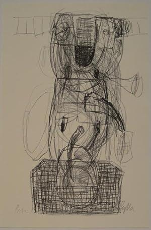 """Ohne Titel. Lithographie. Signiert und bezeichnet: """"Probe"""".: KLAUS ZYLLA (*Cottbus 1953 - lebt..."""