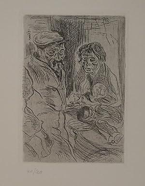 Arbeiterpaar mit zwei ausgehungerten Kindern. (Familie). (1929). Radierung (Ätzung auf Zink). ...
