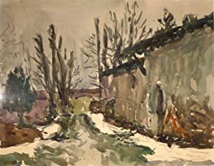 """Peney devant chez moi"""". Landhaus mit Bäumen. Aquarell und Kohle. Unten rechts vom Kü..."""
