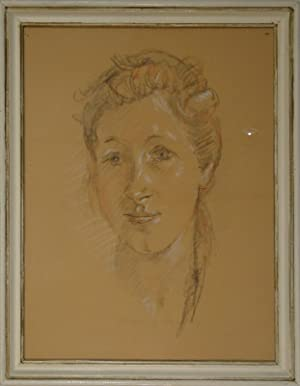 Kopf einer jungen Frau. Zeichnung in schwarzer u. roter Kreide u. Deckweiss. 1944. Unten Mitte in ...