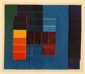Komposition mit Farbkontrasten aus Blau/Grün/Violett und Rot/Gelb. Collage aus ...