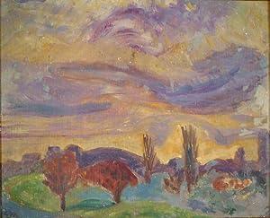 Landschaft bei Wollishofen. Öl auf Malpappe. Um 1921. Unten links in schwarzer Ölfarbe ...