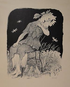 Blumenmädchen auf Stuhl sitzend, nach links unten zu Heuschrecken, Ameisen und Faltern ...