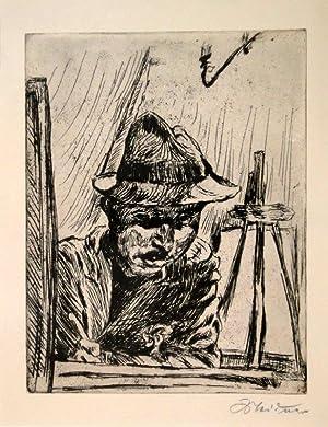 Selbstbildnis (mit Hut im Atelier). Radierung. 1924. Unten rechts in Bleistift signiert.: LUDWIG ...