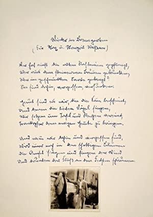 Schwarzweisse Original-Fotografie (Original-Papierabzug 4,9 : 5,8 cm) von Hermann Hesse mit Max ...