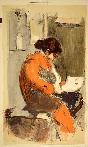 Lesende in rotem Kimono. Farbige Lithographie. Unten rechts in Bleistift signiert, links bezeichnet...