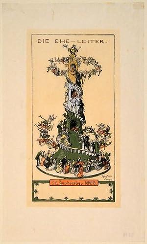 Die Ehe-Leiter. 25. September 1899. Zinkätzung mit Farbplatten in Holzschnitt. Unten rechts ...