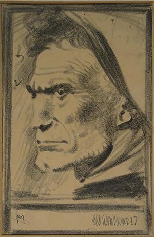 Dantesker Kopf. Ausdrucksstudie in Bleistift. 1927. Unten rechts in Bleistift voll signiert und ...
