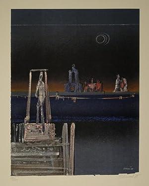 Ohne Titel. (Untergangsstimmung). Farbige Lithographie. 1975. Unten rechts im Stein signiert u. ...