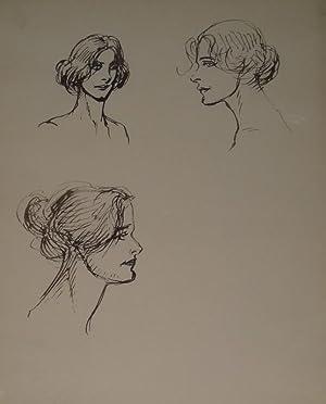 Drei Frauenköpfe. Federzeichnungen in Sepia auf 1 Blatt Rives-Bütten. Um 1910. Verso mit ...