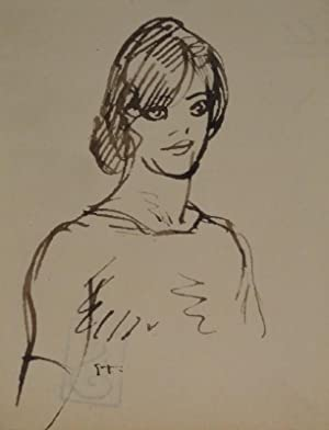 """Frauenkopf frontal. Zeichnung in braunschwarzer Tuschfeder. Unten links signiert: """"St."""": ..."""