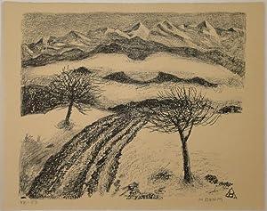 Vorfrühling im Zürcher Oberland. Lithographie. Unten rechts in Bleistift signiert, links ...