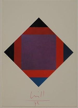 """Postkarte: """"strahlung aus violett, 1972"""".: BILL, Max."""