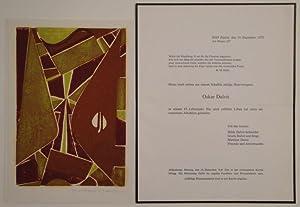 """Ohne Titel. Farbiger Holzschnitt. (1975?). In Bleistift signiert: """"Oskar Dalvit"""".: OSKAR ..."""