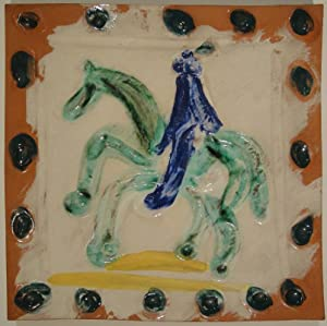 Cavalier and horse / Cavalier et cheval. 1968/69. Square plaque.: PABLO PICASSO (Malaga ...