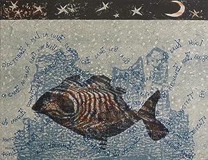 """D'octobre à mai la lune reste figé dans les lacs """". Farblithographie. Unten ..."""