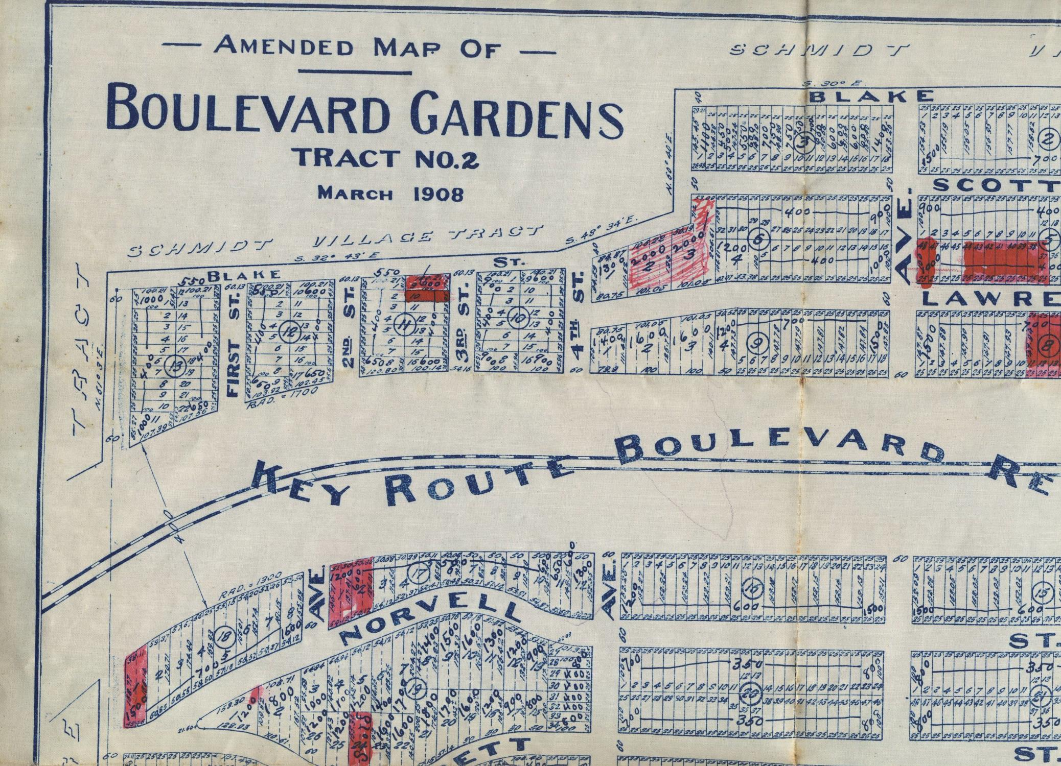 Amended Map Of Boulevard Gardens Tract No 2 March 1908 By - Us-map-1908