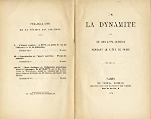 De la dynamite et de ses applications pendant le siege de Paris