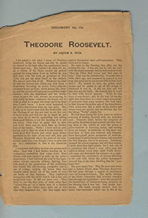 Theodore Roosevelt [caption title]: Roosevelt, Theodore). RIIS, JACOB A