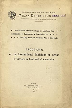 Programm[sic] of the international exhibition of means of carriage by land and of aeronautics [...