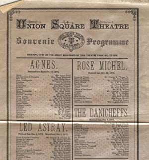 Union Square Theatre / Souvenir programme / Original cast of the great successes of this theatre ...