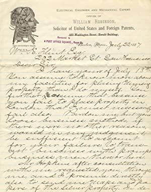Autograph letter, signed, to William K. Flint of San Francisco: ROBINSON, WILLIAM