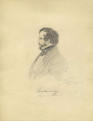 "Original pencil sketch of Edward John Trelawny [or Trelawney], signed ""D'Orsay fecit&quot..."