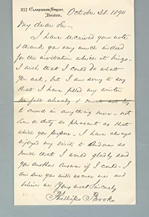 Autograph letter, signed, to William W. Ranney