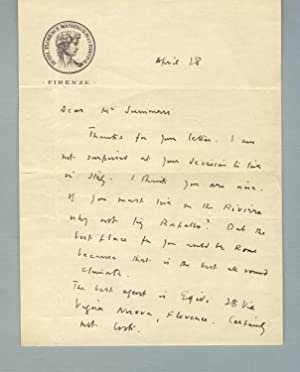 Autograph letter, signed, to a