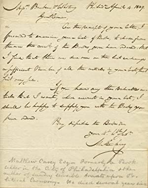 Autograph letter, signed, to Backus & Whiting, booksellers in Albany, New York