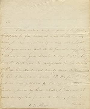 Autograph letter, signed, to an unnamed correspondent
