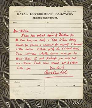 Autograph note, signed, on Natal Government Railways stationery, to