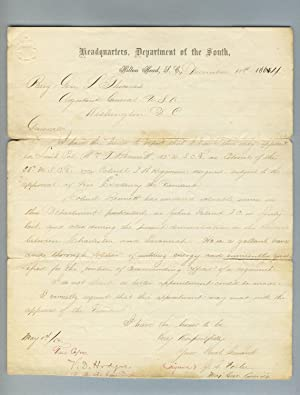 Handwritten copy of Gen. John G. Foster's letter to Gen. Lorenzo Thomas concerning the promotion ...