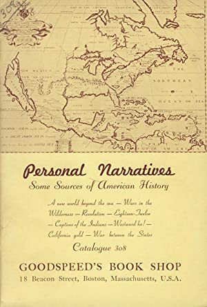Personal narratives: Some sources of American history [cover title]