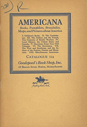 Americana: Books, pamphlets, broadsides, maps, and pictures about America [cover title]